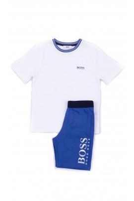 Piżama letnia: biała koszulka + granatowe krótkie spodenki, Hugo Boss