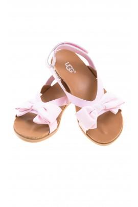 Różowe sandałki dziewczęce na rzep na pięcie, UGG