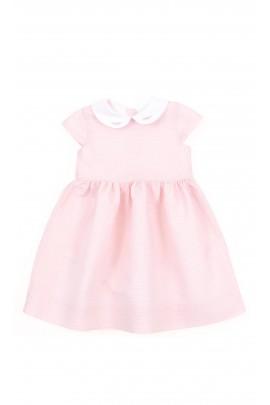 Różowo-pudrowa sukienka z krótkim rękawem, Polo Ralph Lauren