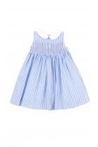 Sukienka niemowlęca biała w niebieskie podłużne paski, Polo Ralph Lauren