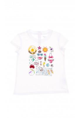 Biały t-shirt dziewczęcy z przodu w kolorowe wzory, Polo Ralph Lauren