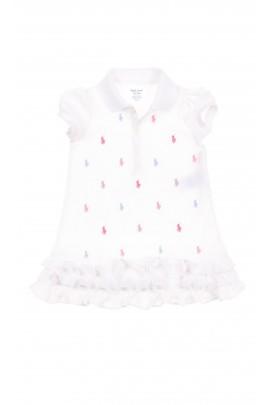 Biała sukienka niemowlęca w koniki, Polo Ralph Lauren
