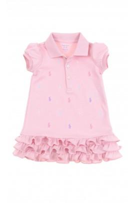 Różowa sukienka niemowlęca w koniki, Polo Ralph Lauren