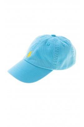 Jasno-niebieska czapka z daszkiem z przodu z żółtym konikiem, Polo Ralph Lauren
