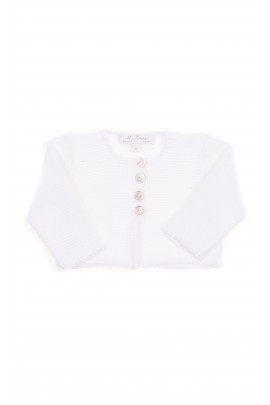 Biały krótki sweterek niemowlęcy, Ferrari Mariella
