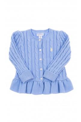 Niebieski sweterek o splocie warkoczowym, Polo Ralph Lauren