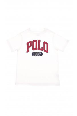 Biały t-shirt z dużym napisem POLO w kolorze czerwonym, Polo Ralph Lauren