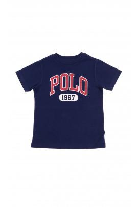 Granatowy t-shirt z dużym napisem POLO w kolorze czerwonym, Polo Ralph Lauren