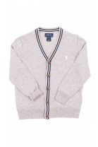 Sweter szary rozpinany z przodu w literę V, Polo Ralph Lauren