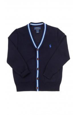 Granatowy sweter rozpinany z przodu w literę V, Polo Ralph Lauren
