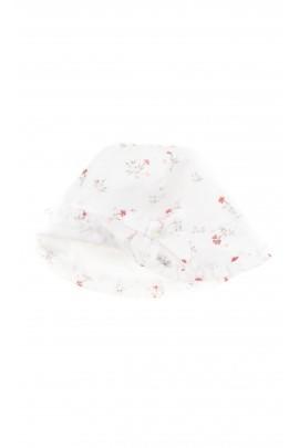 Biały kapelusik niemowlęcy w kwiatki, Tartine et Chocolat