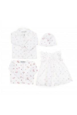 Biały sweterek niemowlęcy dla dziewczynki w kwiatki, Tartine et Chocolat