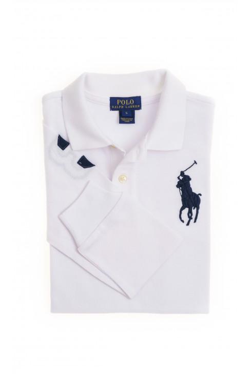 Białe polo chłopięce z długim rękawem, Polo Ralph Lauren