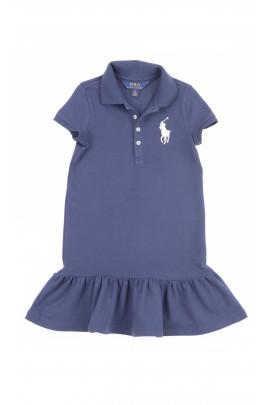 Granatowa sukienka dziewczęca z marszczoną falbanką na dole, Polo Ralph Lauren