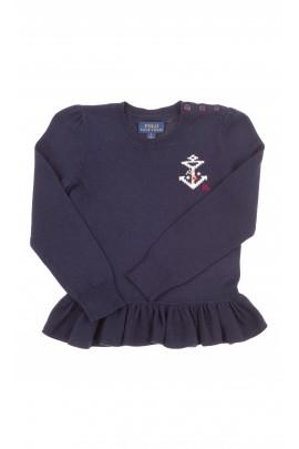 Granatowy sweter z falbanką na dole, Polo Ralph Lauren