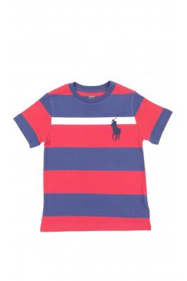 T-shirt bawełniany chłopięcy w poziome granatowo-bordowe pasy, Polo Ralph Lauren