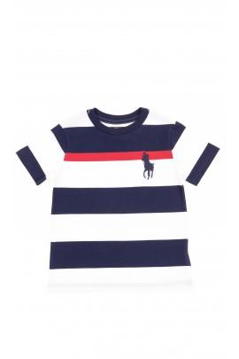 T-shirt bawełniany chłopięcy w poziome granatowo-białe pasy, Polo Ralph Lauren