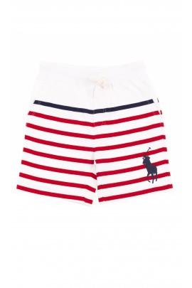 Krótkie spodenki chłopięce bawełniane w biało-czerwone paski, Polo Ralph Lauren