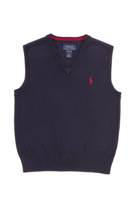 Granatowa bawełniana kamizelka chłopięca, Polo Ralph Lauren