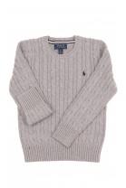 Szary sweter o splocie warkoczowym okrągły pod szyją, Polo Ralph Lauren