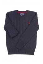 Granatowy sweter o splocie warkoczowym okrągły pod szyją, Polo Ralph Lauren