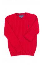 Czerwony sweter o splocie warkoczowym okrągły pod szyją, Polo Ralph Lauren
