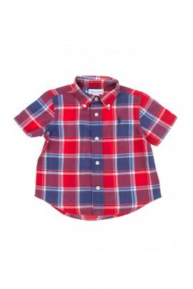 Koszula w czerwono-granatową kratę na krótki rękaw, Polo Ralph Lauren