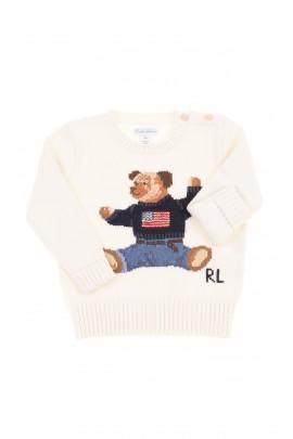 Biały sweter z miśkiem z przodu, Polo Ralph Lauren