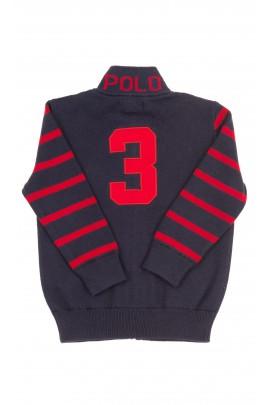 Granatowy sweter chłopięcy na suwak z przodu, Polo Ralph Lauren