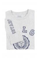 Szary t-shirt chłopięcy na długi rękaw, Polo Ralph Lauren