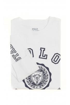 Biały t-shirt chłopięcy na długi rękaw, Polo Ralph Lauren
