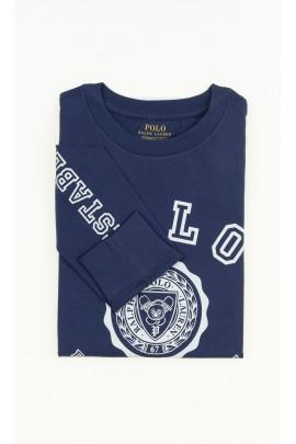 Granatowy t-shirt chłopięcy na długi rękaw, Polo Ralph Lauren