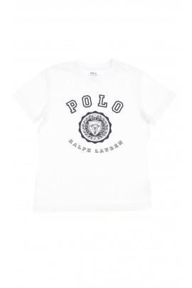Biały t-shirt chłopięcy na krótki rękaw z nadrukiem z przodu, Polo Ralph Lauren