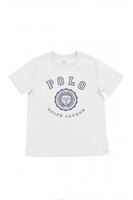 Szary t-shirt chłopięcy na krótki rękaw, Polo Ralph Lauren