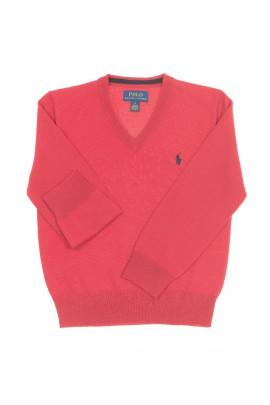 Czerwony sweter chłopięcy dekolt w literę V, Polo Ralph Lauren