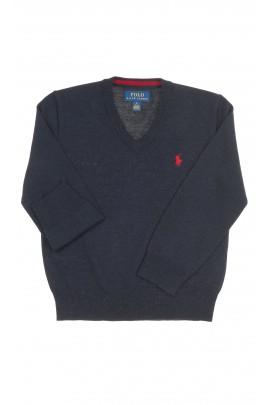 Granatowy sweter chłopięcy dekolt w literkę V, Polo Ralph Lauren