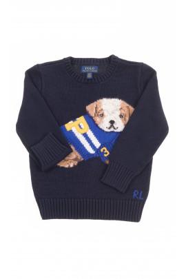 Granatowy sweter chłopięcy z przodu z pieskiem, Polo Ralph Lauren