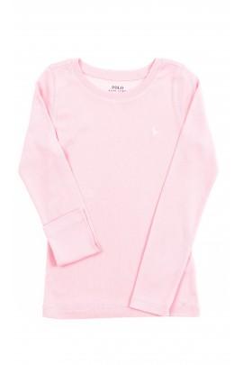 Różowy t-shirt dziewczęcy z długim rękawem, Polo Ralph Lauren