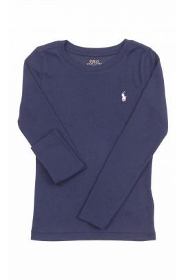Granatowy t-shirt dziewczęcy z długim rękawem, Polo Ralph Lauren