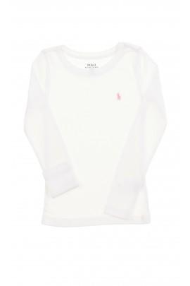 Dziewczęcy, biały t-shirt z długim rękawem Polo Ralph Lauren