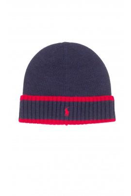 Granatowa czapka chłopięca wciągana, Polo Ralph Lauren