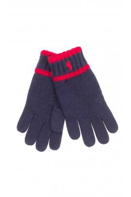 Granatowe rękawiczki z pięcioma palcami, Polo Ralph Lauren