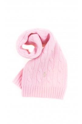 Różowy szalik o splocie warkoczowym, Polo Ralph Lauren