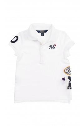 Biała koszulka dziewczęca polo z aplikacjami, Polo Ralph Lauren
