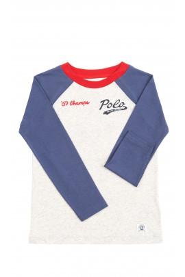 Szaro-granatowy t-shirt chłopięcy na długi rękaw, Polo Ralph Lauren