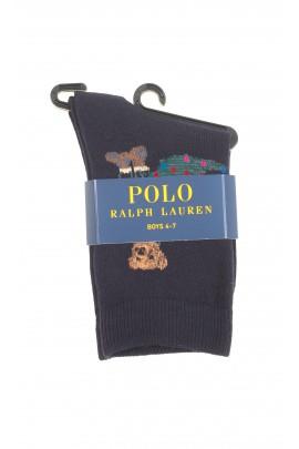 Czarne skarpetki z niedźwiadkiem, Polo Ralph Lauren