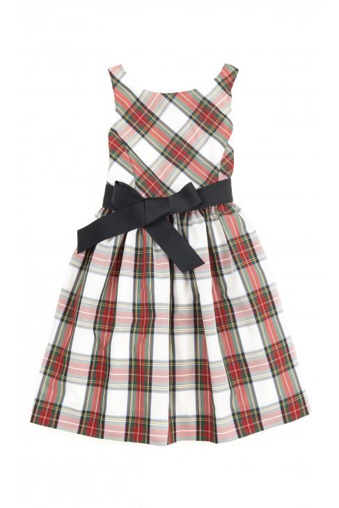 Elegancka sukienka w biało-czerwoną kratę, Polo Ralph Lauren