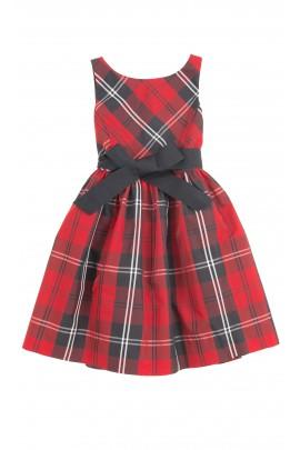Robe élégante à carreaux rouges et noirs, Polo Ralph Lauren