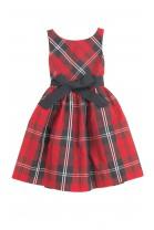 Elegancka sukienka w czerwono-czarną kratę, Polo Ralph Lauren