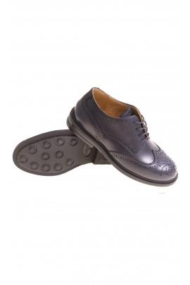 Granatowe eleganckie pantofle chłopięce sznurowane, Gallucci